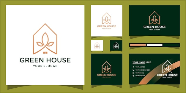 Modelo de logotipo de casa verde com conceito moderno e design de cartão de visita