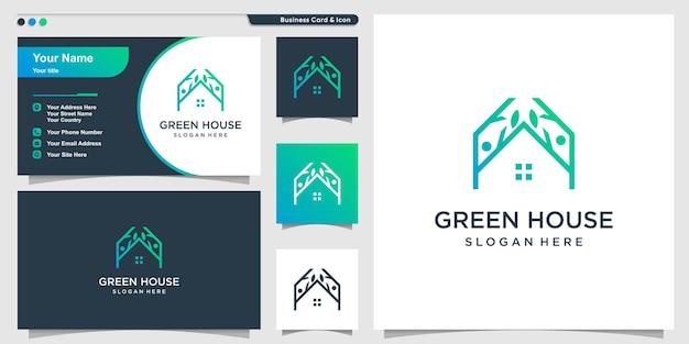 Modelo de logotipo de casa verde com estilo moderno premium vector