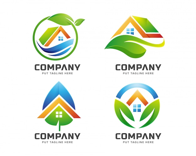 Modelo de logotipo de casa verde para empresa