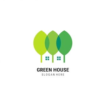 Modelo de logotipo de casa verde