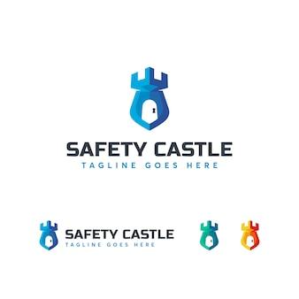 Modelo de logotipo de castelo de segurança
