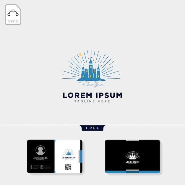 Modelo de logotipo de castelo e design de cartão de visita