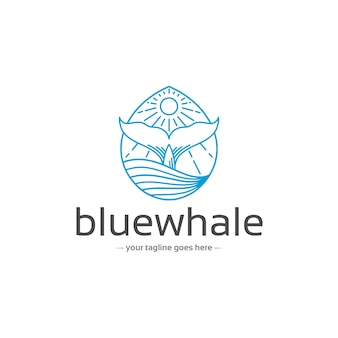 Modelo de logotipo de cauda de baleia azul