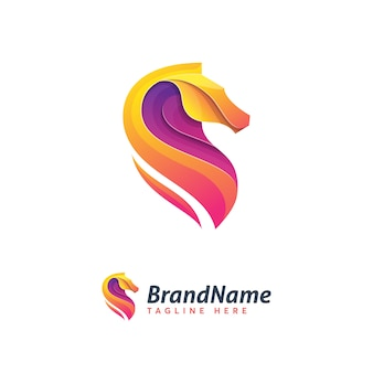 Modelo de logotipo de cavalo absrustration ilustration icon
