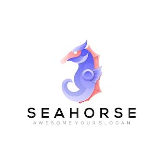 Modelo de logotipo de cavalo-marinho