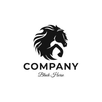 Modelo de logotipo de cavalo preto de luxo