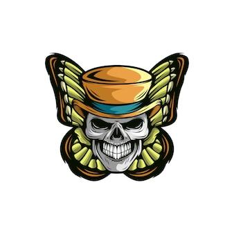 Modelo de logotipo de caveira de borboleta