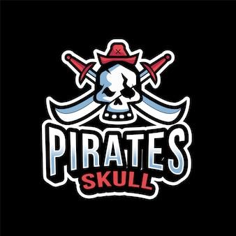 Modelo de logotipo de caveira de piratas esport