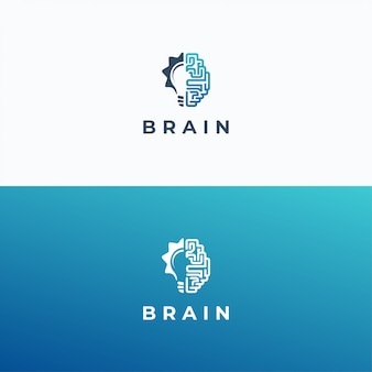 Modelo de logotipo de cérebro e lâmpada