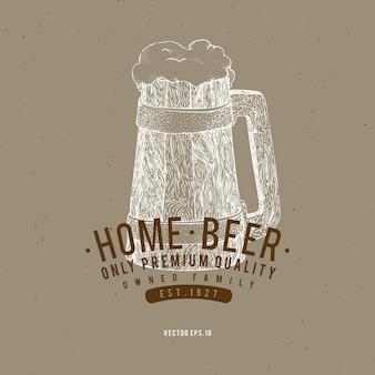 Modelo de logotipo de cerveja. ilustração tirada mão da caneca de cerveja do vetor.