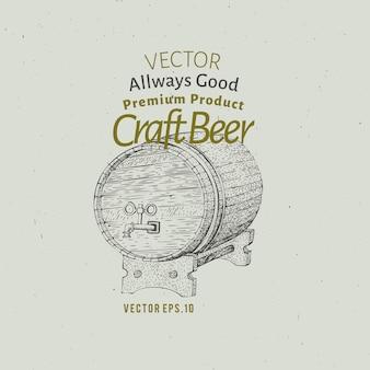 Modelo de logotipo de cerveja. ilustração tirada mão do tambor de cerveja do vetor.
