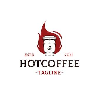 Modelo de logotipo de chama de café quente