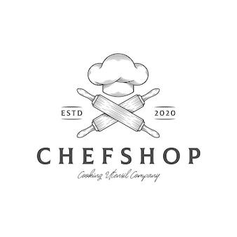 Modelo de logotipo de chapéu de chef de cozinha