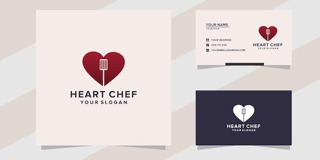 Modelo de logotipo de chef de coração