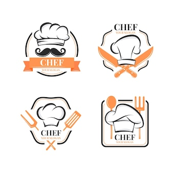 Modelo de logotipo de chef de design plano