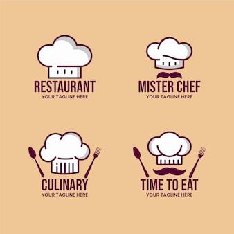 Modelo de logotipo de chef plano