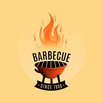 Modelo de logotipo de churrasco com detalhes