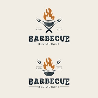 Modelo de logotipo de churrasco