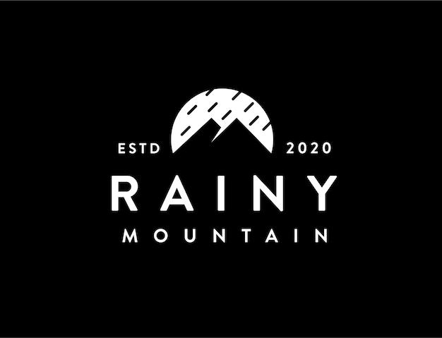 Modelo de logotipo de chuva e montanha