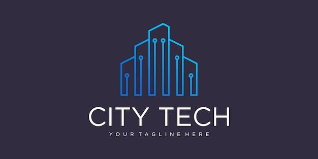 Modelo de logotipo de cidade tecnológica