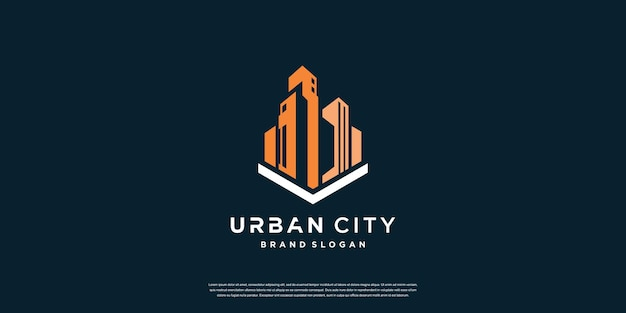 Modelo de logotipo de cidade urbana com conceito criativo premium vector