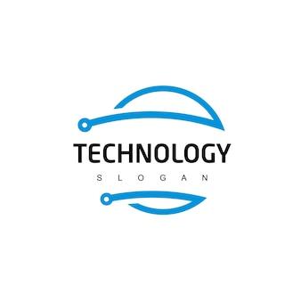 Modelo de logotipo de circuito de tecnologia