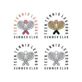 Modelo de logotipo de clube de verão de aulas de tênis para adolescentes