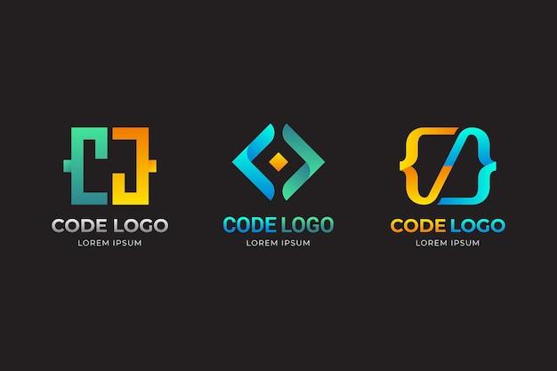 Modelo de logotipo de código gradiente amarelo e azul