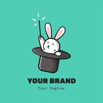 Modelo de logotipo de coelho mágico