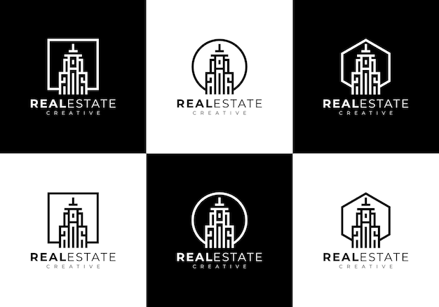Modelo de logotipo de coleção de conjunto de edifício residencial