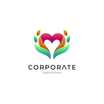 Modelo de logotipo de combinação de coração com folha