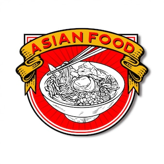 Modelo de logotipo de comida asiática