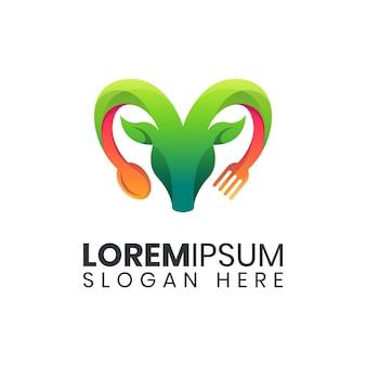Modelo de logotipo de comida de cabra da natureza
