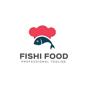 Modelo de logotipo de comida de peixe