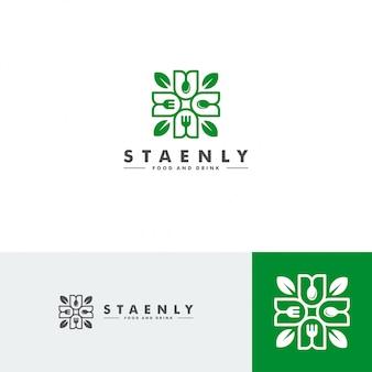 Modelo de logotipo de comida e bebida, ícone de restaurante