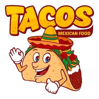Modelo de logotipo de comida mexicana de tacos, com vetor de personagem engraçada