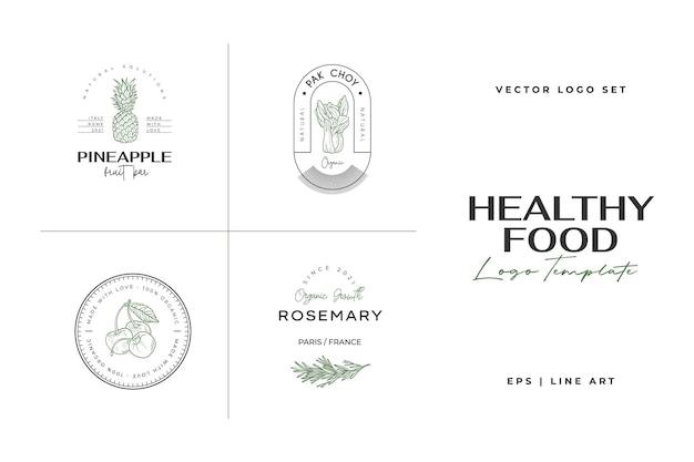 Modelo de logotipo de comida saudável ilustrações desenhadas à mão para restaurante