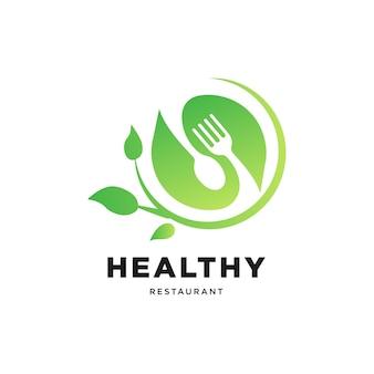 Modelo de logotipo de comida saudável logotipo de restaurante saudável com vetor de cor verde folha e garfo de colher