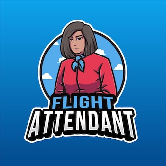 Modelo de logotipo de comissário de bordo isolado em azul