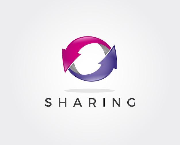 Modelo de logotipo de compartilhamento mínimo