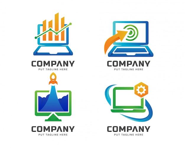 Modelo de logotipo de computador criativo