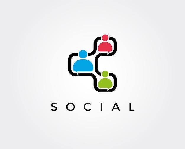 Modelo de logotipo de conexão social conectando pessoas