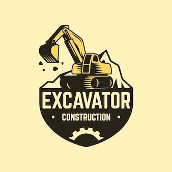 Modelo de logotipo de construção com escavadeira