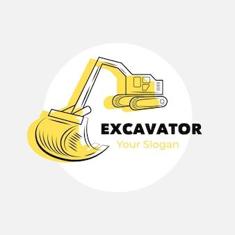 Modelo de logotipo de construção de escavadeira