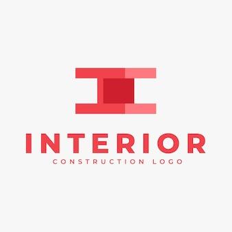 Modelo de logotipo de construção de interiores