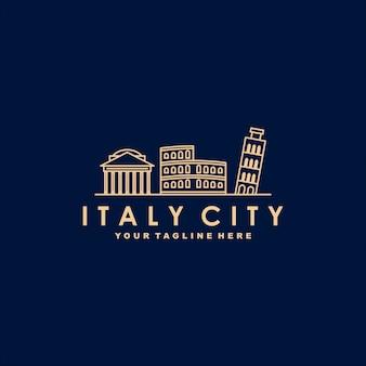 Modelo de logotipo de contorno de cidade itália