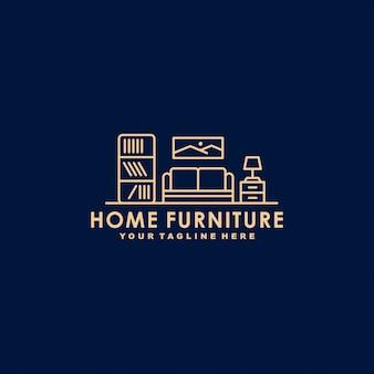 Modelo de logotipo de contorno de móveis para casa