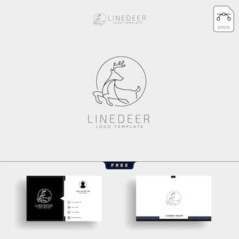 Modelo de logotipo de contorno de veados mínima com cartão