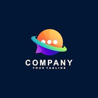 Modelo de logotipo de cor de bate-papo