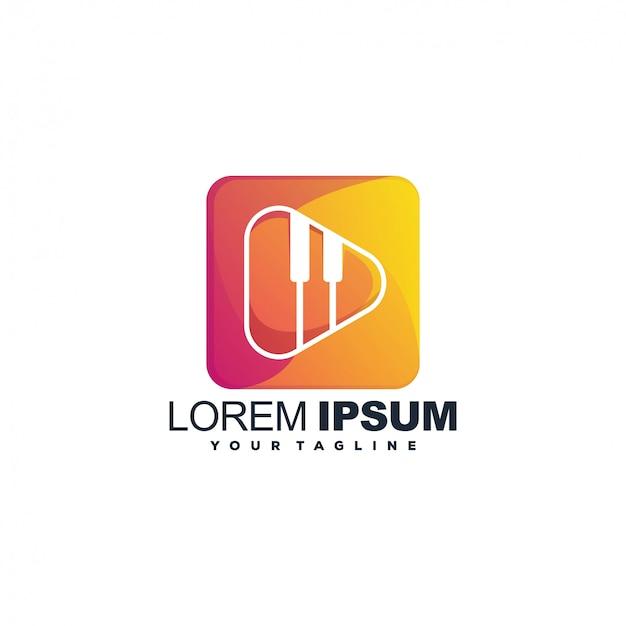 Modelo de logotipo de cor de música moderna